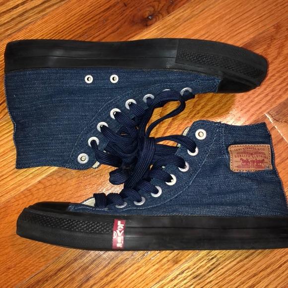 Mens Levi Denim Hightop Canvas Sneakers